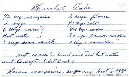 Chocolate Cake - Favourite Family Recipes Front