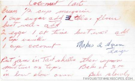 Coconut Tarts Recipe - Favourite FamilyRecipes